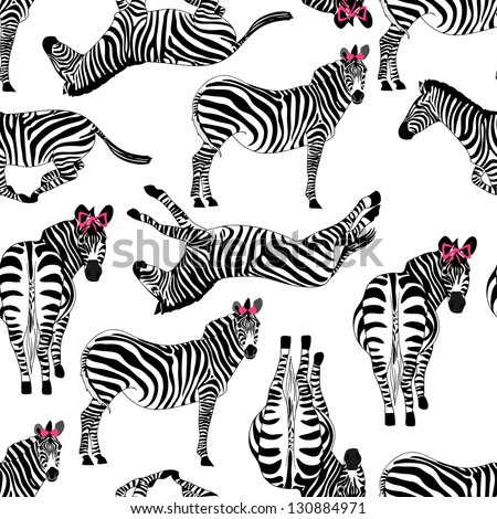 pattern consisting of zebras - stock vector