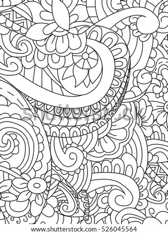 Pattern Flower Coloring Book Adults Vector Stock Vector 526045564 ...