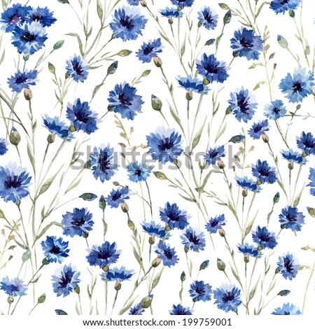 pattern, flowers, cornflower - stock vector