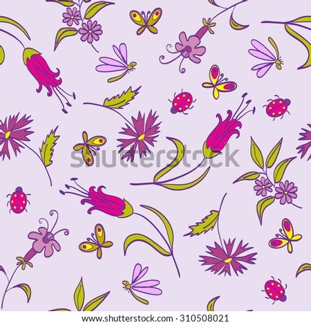 Pattern Flowers Lilac - stock vector