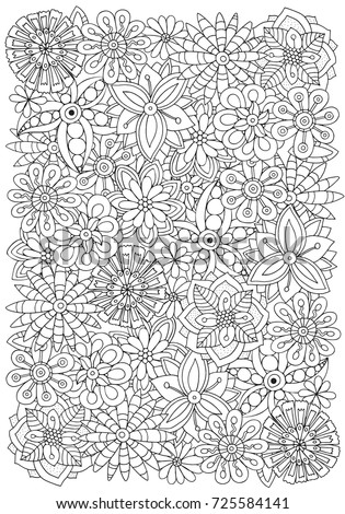 Pattern Adult Coloring Book Flowers Ethnic Stock Vector (2018 ...