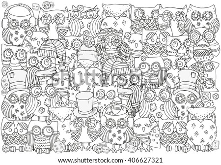 pattern for coloring book a4 size owls black and white background artistically - Coloring Book Fun