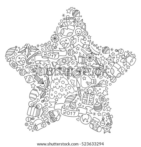 Pattern For Coloring Book Christmas Hand Drawn Decorative Elements In Vector Star