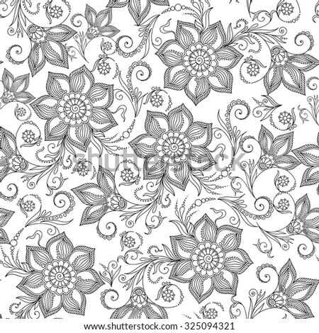 Pattern for coloring book. Coloring book pages for kids and adults.Henna MehendyTattoo Doodles Seamless Pattern - stock vector