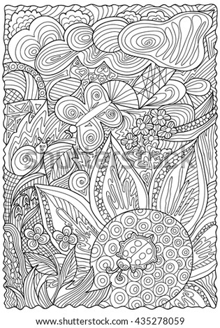 Pattern for coloring book. . Hand drawn. Adults. Black and white. Etnic, floral, doodle, vector, triba,. zentangle.    - stock vector