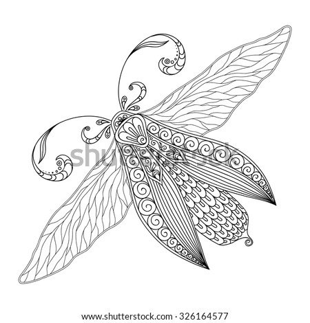 Pattern For Coloring Book Henna Mehendi Tattoo Style Doodles Butterfly Design Element
