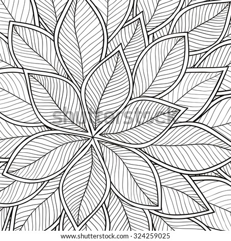 Pattern for coloring book. Leaves. Ethnic, floral, retro, doodle, tribal design element. Black and white background. Zentangle patterns. - stock vector