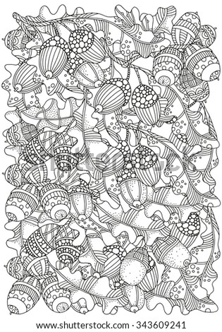 Pattern for coloring book with  artistically hand drawn acorns and oak leaves  in vector. A4size. Ethnic, floral, doodle, zentangle, tribal design elements.  Black and white. Made by trace from sketch - stock vector