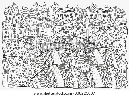 Pattern For Coloring Book With Artistically Houses A4 Size Magic City Fields