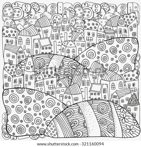 Pattern For Coloring Book With Artistically Houses Magic City Fields Landscape Made