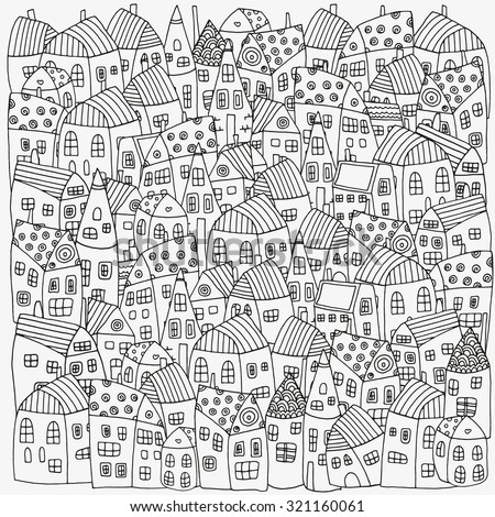 Pattern for coloring book with artistically houses. Street background. Pattern for coloring book. Made by trace from sketch. Ink pen. Zentangle. Black and white pattern in vector. - stock vector