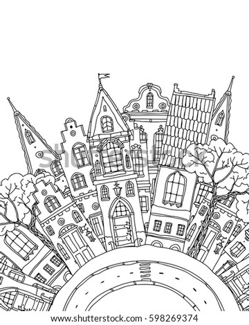 Pattern For Coloring Book With Artistically Part Of City Street Fairy Tale Houses Facade