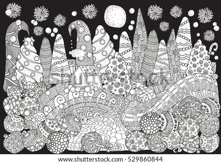 Pattern Coloring Book Christmas Trees Balls Stock Vector (2018 ...