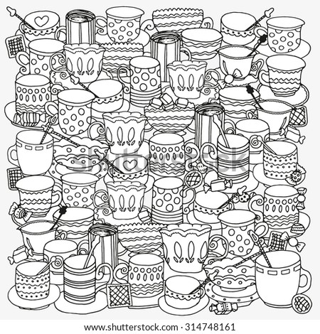 pattern for coloring book with cups and mugs doodle pattern coffee or tea - Coloring Book Paper Stock