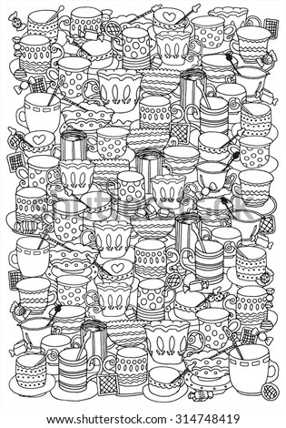Pattern for coloring book with cups and mugs. Doodle, pattern, coffee or tea time, cupcake, cups, candy, lollipops.  Ethnic, floral, retro, doodle, vector, tribal design element. Black and white. A4  - stock vector