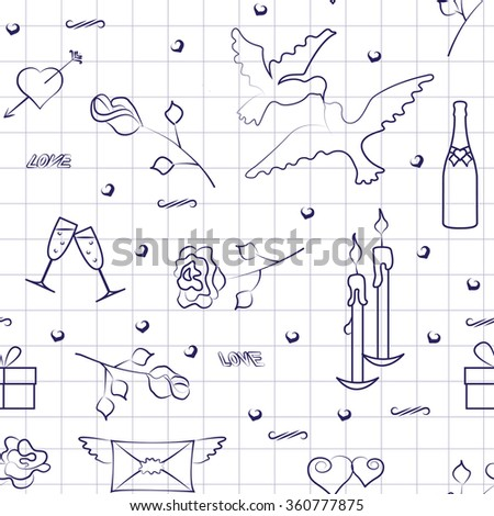 Pattern for Valentine's Day with exercise book effect, eps10