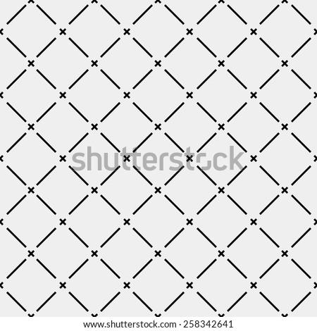 Pattern geometric seamless monochrome minimalistic diagonal lines and cross - stock vector