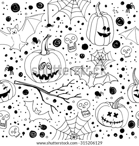 Pattern Halloween vector. Funny pumpkins, spiders and cobwebs, bats ...