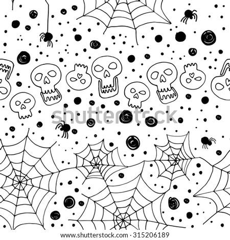 Pattern Halloween vector. Funny pumpkins, spiders and cobwebs, bats ...