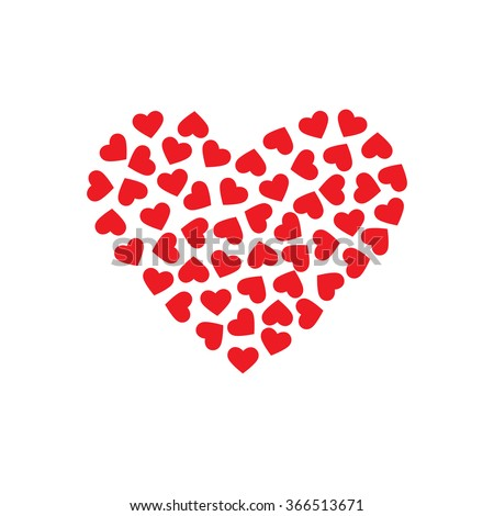 Pattern hearts forming a big heart. Vector design graphic - stock vector