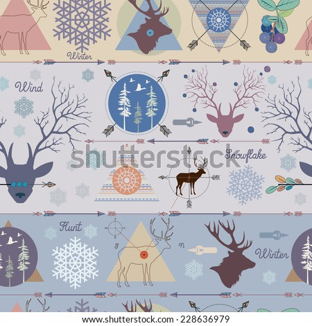 Pattern hunting for deer - stock vector
