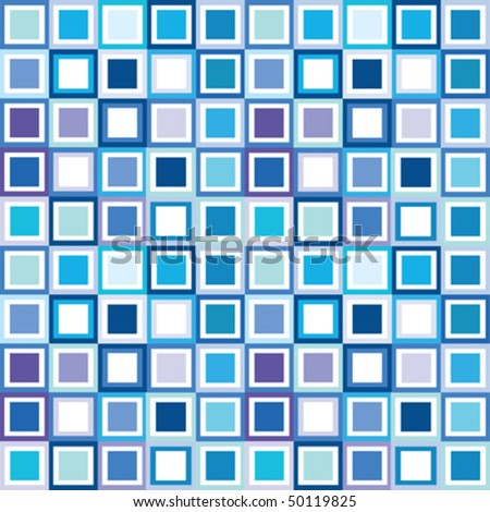 Pattern in cold tones, background with squares - stock vector