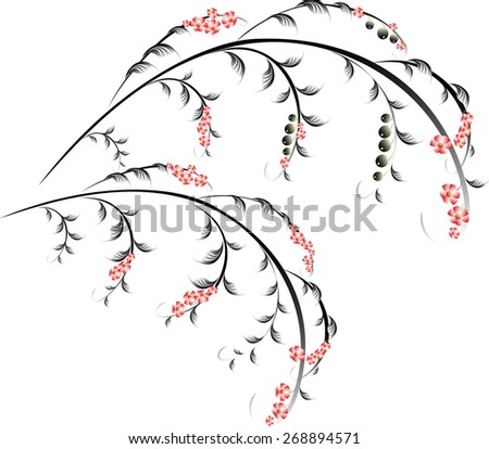 Pattern in the form of berry and red flower branches. EPS10 vector illustration - stock vector