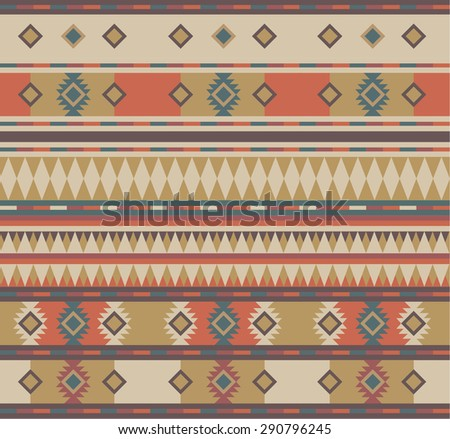 Pattern in the style of the tribe of the Aztecs and Mayans brown, red