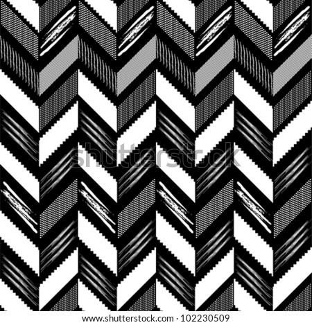 Pattern in zigzag black-white - stock vector