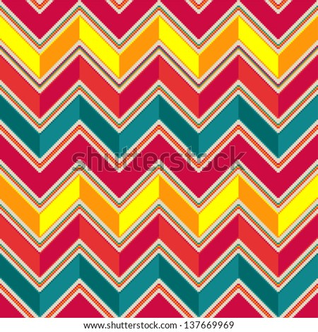 Pattern in zigzag - pastel colored - stock vector