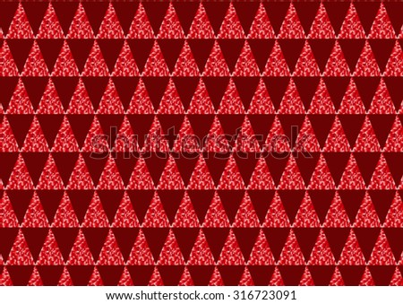 Pattern is composed of red triangles, which are combined with a triangles divided into small parts with different gradients in red and white color.