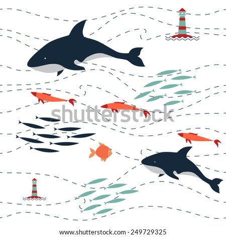 pattern killer sea. include killer whales, lighthouse, waves, schools of fish, other fish. - stock vector