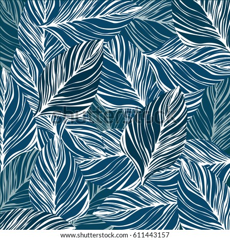 Pattern Leaf Blue Color Background Wallpaper Vector Illustration