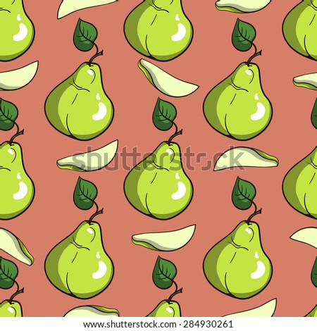 Pattern made from hand drawn green pears. Vector illustration - stock vector