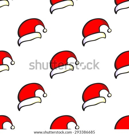 Pattern made from hand drawn Santa Claus hats. Can be used for background, fabric, Wallpaper. Christmas, new year