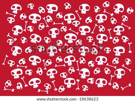 Pattern made of funny skulls and bones on bright red background. Vector illustration - stock vector