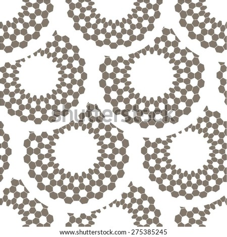 Pattern mosaic circle of hexagon seamless vector background. - stock vector