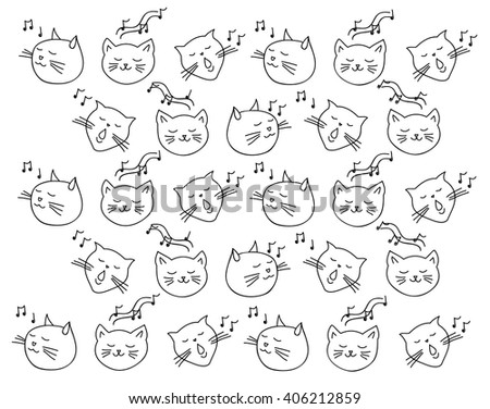 pattern music cat on black background sing a song - stock vector