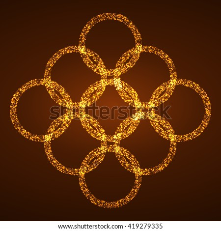 Pattern of bright circles of the burning particles. Vector illustration - stock vector