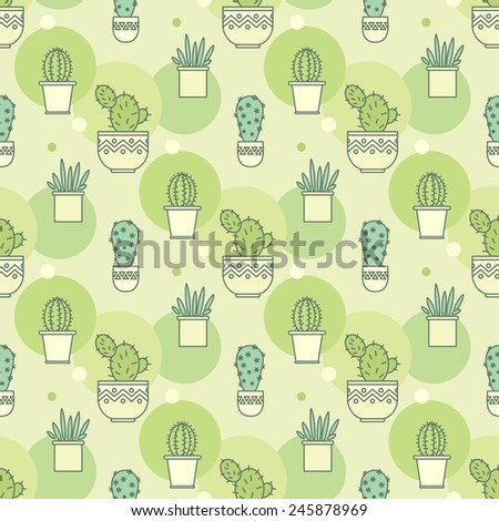 pattern of cacti. Linear illustration. vector background - stock vector