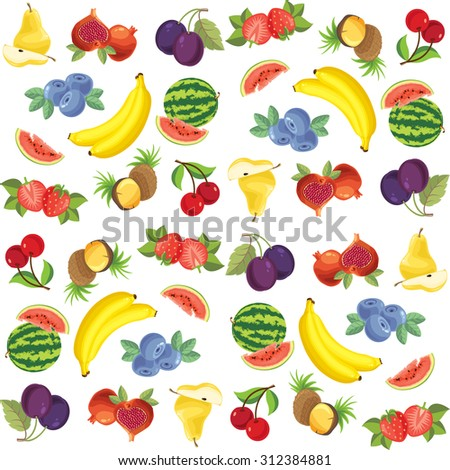 Pattern of different fruit and berry