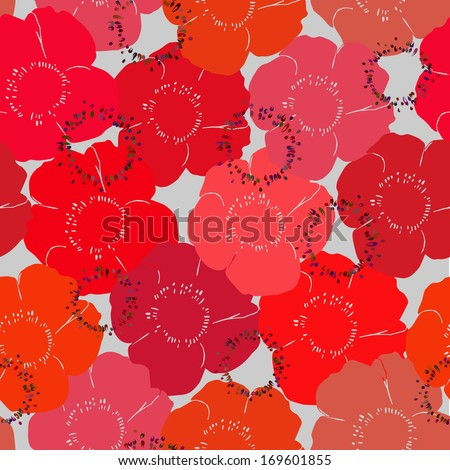 Pattern of ed poppies - stock vector