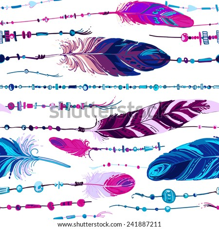 Pattern of ethnic feathers. Ethnic seamless pattern in native style. Bright colored feathers and beads on white background. Vector decorative elements hippie - stock vector