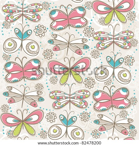 pattern of hand draw  butterflies, vector illustration