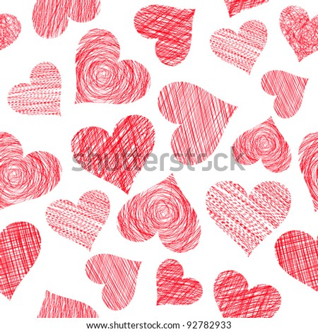 Pattern of hand drawn hearts isolated on white (vector) - stock vector
