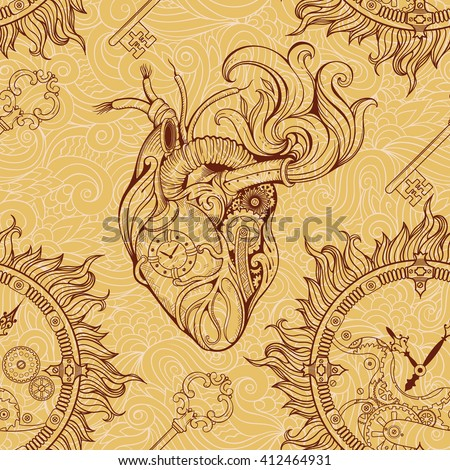 Pattern of heart, clockwork and key in steampunk style. - stock vector