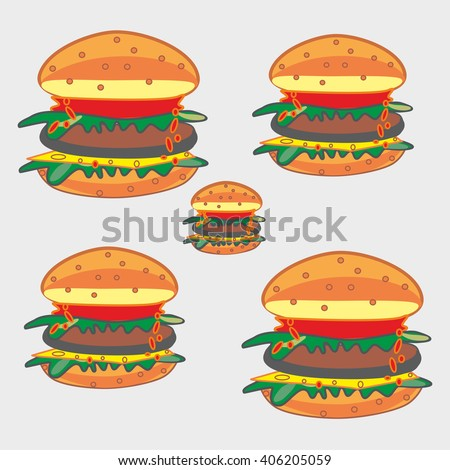 Pattern  of juicy hamburger on a gray background.