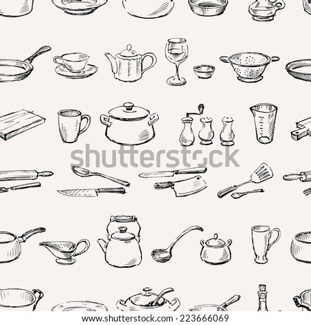 pattern of kitchenware - stock vector