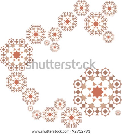 Pattern of retro colour and shapes for background over white in spiral shape