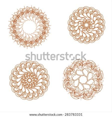 Pattern of round design elements. Circular design elements spirograph. Vector templates - stock vector